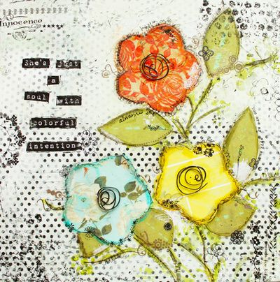 OrangeBlueGreenFlowerCanvas_mixedMedia